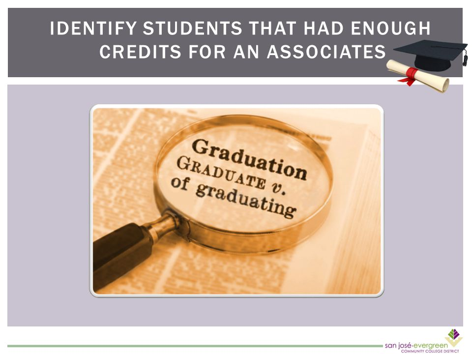 IDENTIFY STUDENTS THAT HAD ENOUGH CREDITS FOR AN ASSOCIATES