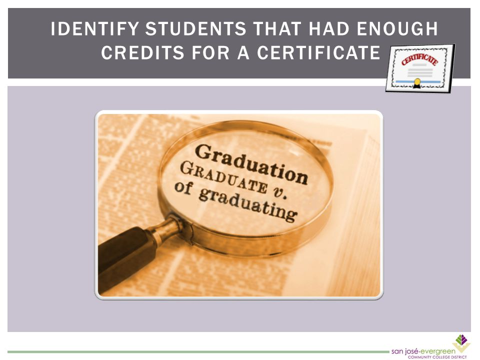 IDENTIFY STUDENTS THAT HAD ENOUGH CREDITS FOR A CERTIFICATE