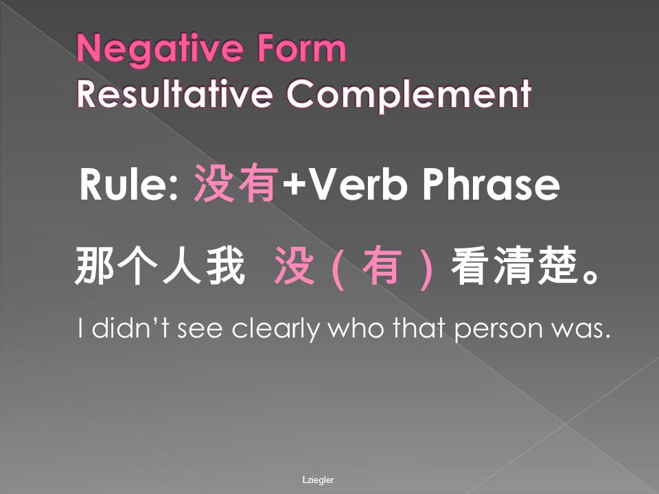 Rule: 没有 +Verb Phrase 那个人我 没(有)看清楚。 I didn't see clearly who that person was.