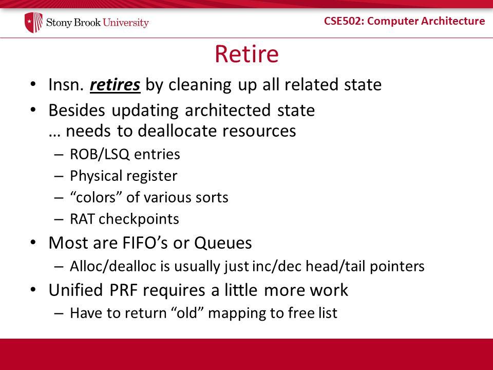 CSE502: Computer Architecture Retire Insn.