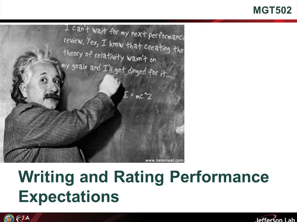 Writing and Rating Performance Expectations MGT502