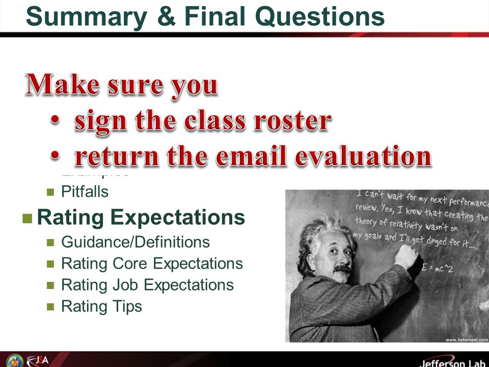 Summary & Final Questions Writing Effective Expectations Tips Words and Structure The S.M.A.R.T.