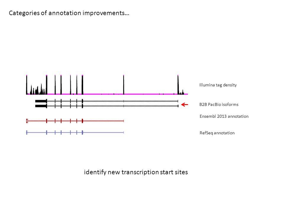 Categories of annotation improvements… B2B PacBio isoforms Ensembl 2013 annotation RefSeq annotation Illumina tag density identify new transcription s