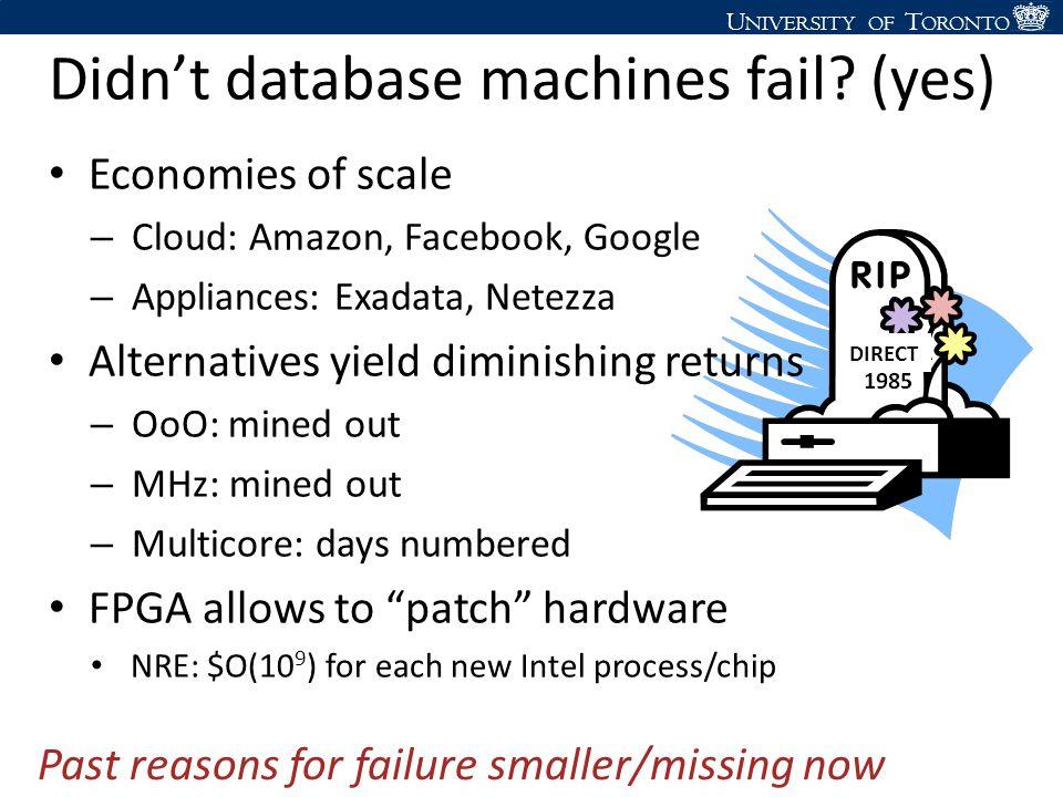 U NIVERSITY U NIVERSITY OF T ORONTO Didn't database machines fail? (yes) Economies of scale – Cloud: Amazon, Facebook, Google – Appliances: Exadata, N