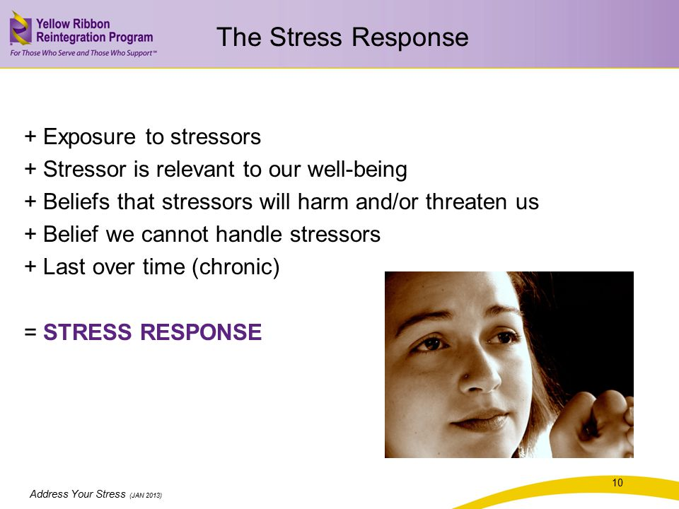 Address Your Stress (JAN 2013) + Exposure to stressors + Stressor is relevant to our well-being + Beliefs that stressors will harm and/or threaten us + Belief we cannot handle stressors + Last over time (chronic) = STRESS RESPONSE 10