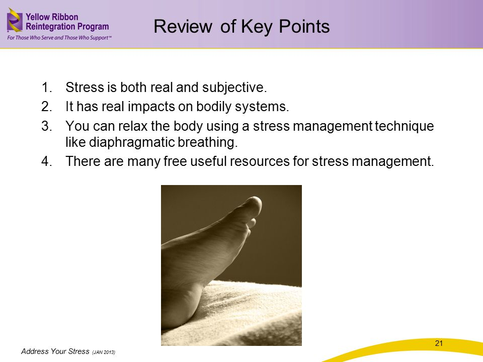 Address Your Stress (JAN 2013) Review of Key Points 1.Stress is both real and subjective.