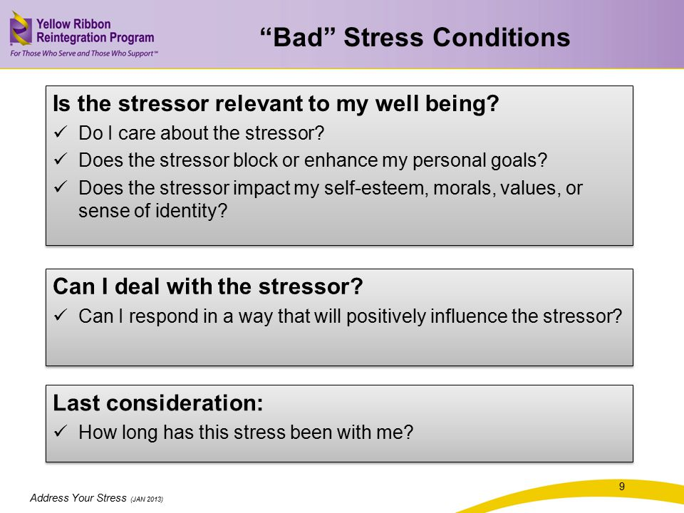 Address Your Stress (JAN 2013) Is the stressor relevant to my well being.
