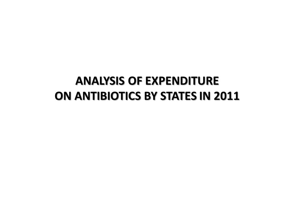 ANALYSIS OF EXPENDITURE ON ANTIBIOTICS BY STATES IN 2011