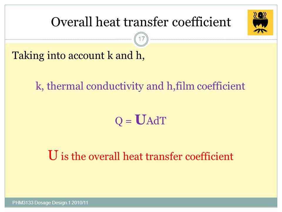 Film coefficient, h (J/m 2 -s-K) 16 Fluidh Water (heat-exchanger)1700-11350 Gases17-285 Organic solvents340-2840 Oils57-680 …….why? PHM3133 Dosage Des