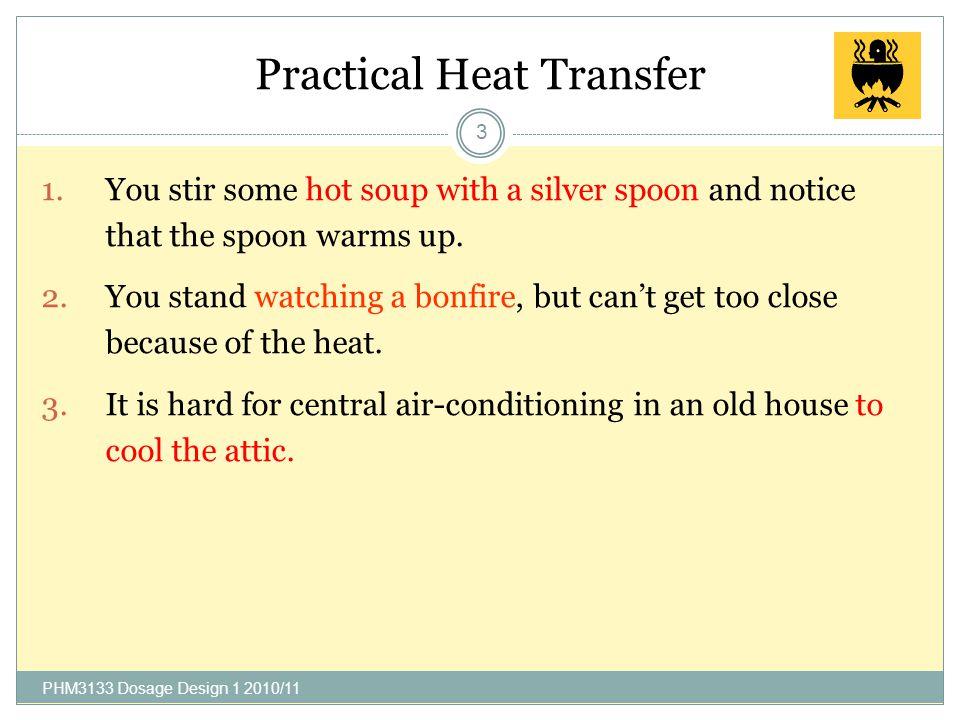 Contents 2 Practical heat transfer Heat transfer medium Heat transfer through multiple layers Heat transfer at boundary PHM3133 Dosage Design 1 2010/1