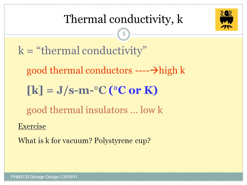 Thermal conductivity, k 5 k = thermal conductivity good thermal conductors ----  high k [k] = J/s-m-  C (  C or K) good thermal insulators … low k Exercise What is k for vacuum.