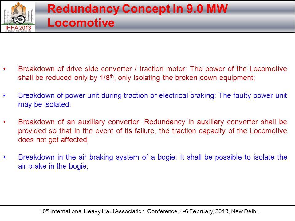 10 th International Heavy Haul Association Conference, 4-6 February, 2013, New Delhi. Redundancy Concept in 9.0 MW Locomotive Breakdown of drive side