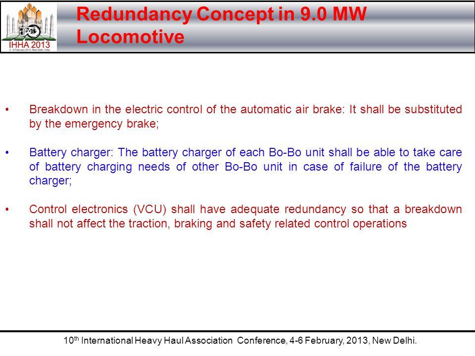 10 th International Heavy Haul Association Conference, 4-6 February, 2013, New Delhi. Redundancy Concept in 9.0 MW Locomotive Breakdown in the electri