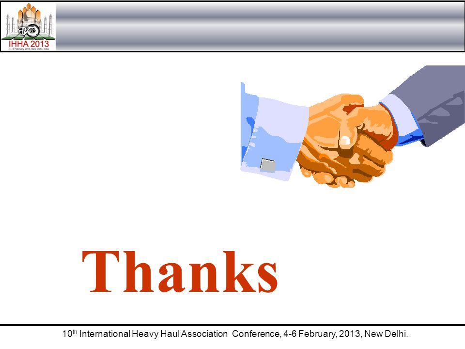 10 th International Heavy Haul Association Conference, 4-6 February, 2013, New Delhi. Thanks