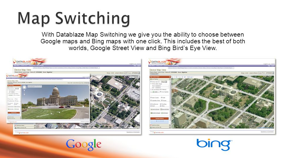 With Datablaze Map Switching we give you the ability to choose between Google maps and Bing maps with one click.