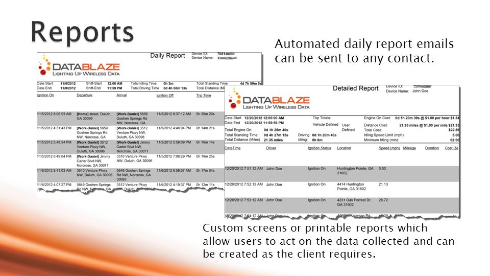 Custom screens or printable reports which allow users to act on the data collected and can be created as the client requires.