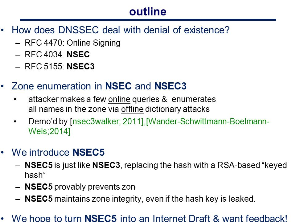 outline How does DNSSEC deal with denial of existence? –RFC 4470: Online Signing –RFC 4034: NSEC –RFC 5155: NSEC3 Zone enumeration in NSEC and NSEC3 a