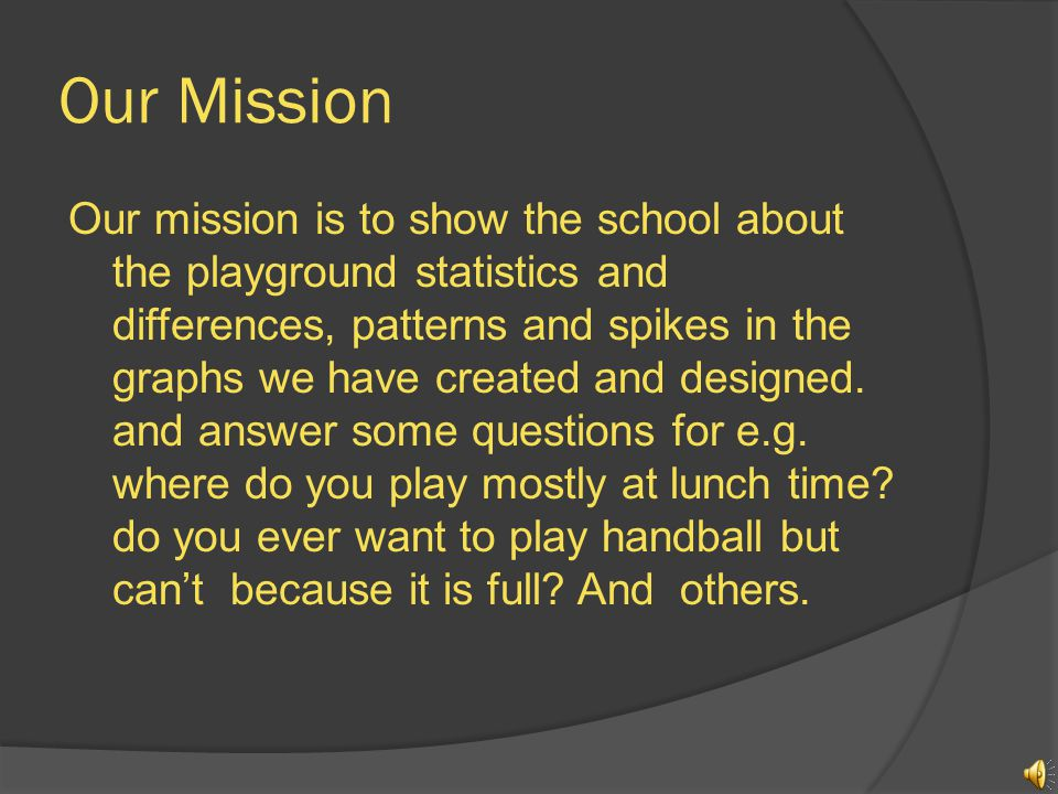 Our Mission Our mission is to show the school about the playground statistics and differences, patterns and spikes in the graphs we have created and designed.