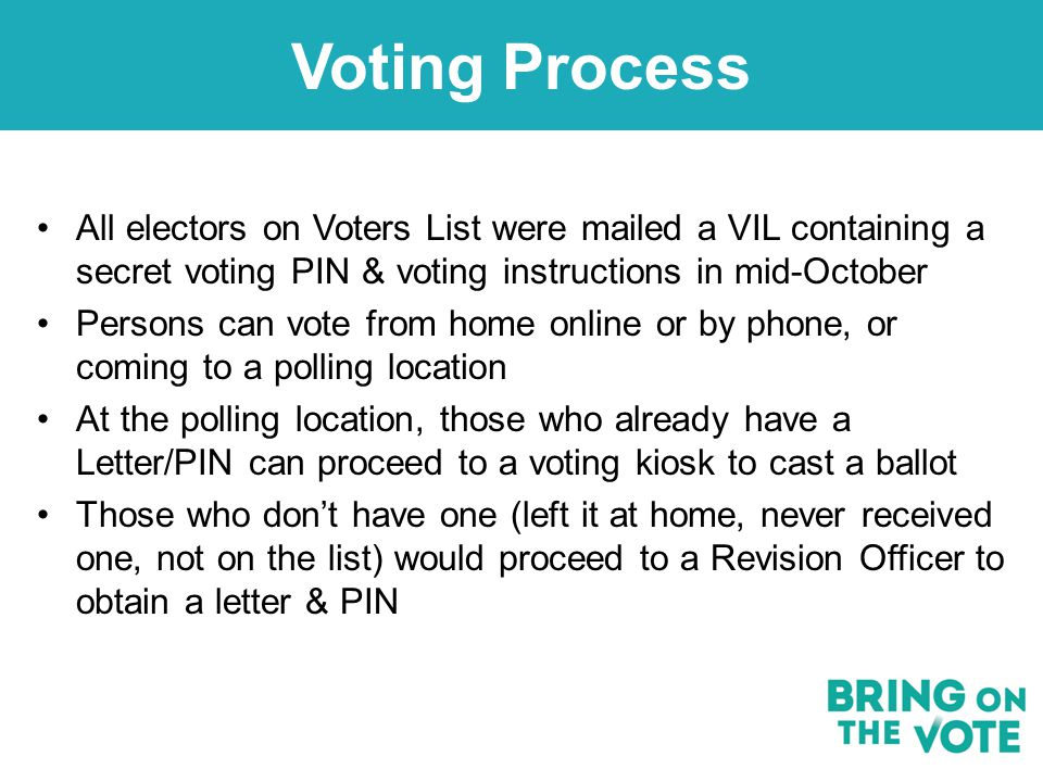 Voting Process All electors on Voters List were mailed a VIL containing a secret voting PIN & voting instructions in mid-October Persons can vote from home online or by phone, or coming to a polling location At the polling location, those who already have a Letter/PIN can proceed to a voting kiosk to cast a ballot Those who don't have one (left it at home, never received one, not on the list) would proceed to a Revision Officer to obtain a letter & PIN