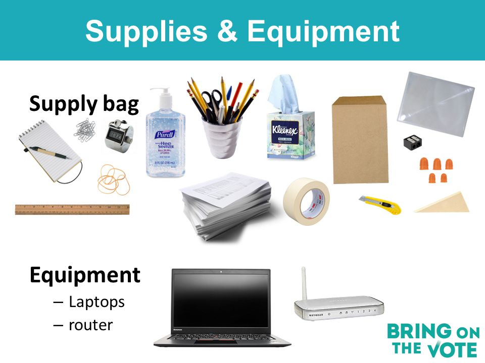 Supplies & Equipment Supply bag Equipment – Laptops – router