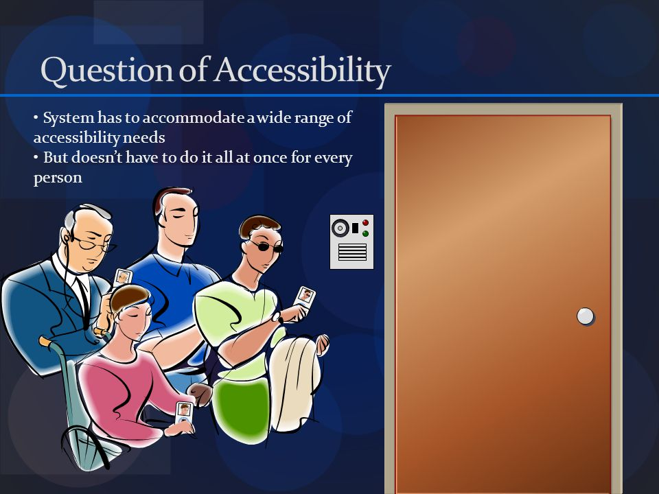 Question of Accessibility Visually Impaired How to locate the badge reader.