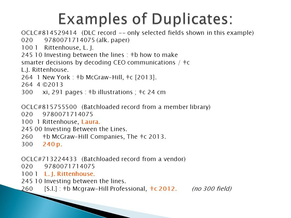 OCLC#814529414 (DLC record -- only selected fields shown in this example) 020 9780071714075 (alk.
