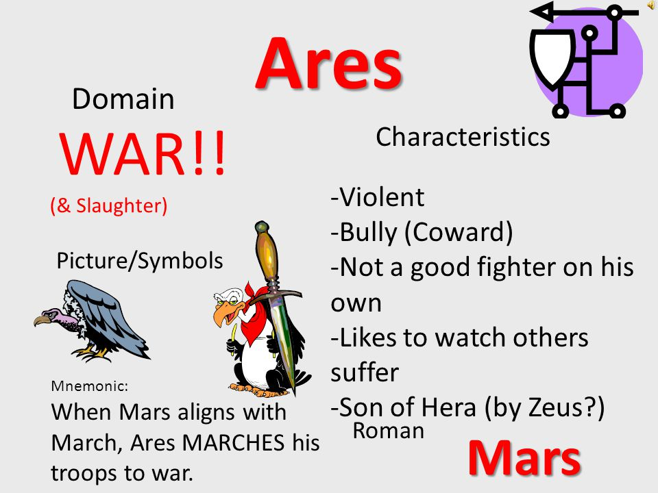Artemis Domain Characteristics Picture/Symbols Roman Mnemonic: Artemis' famous hunting quote: DIE, ANImals! moon, hunt, forest animals Diana -Twin -Daughter of Zeus by Leto -Virgin -Loved Adventure -Huntress -The original Tomboy
