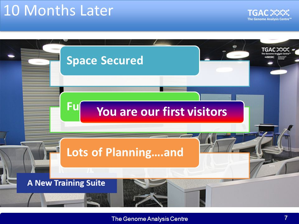 Welcome to TGAC Enjoy the Training We would appreciate your feedback on the facilities