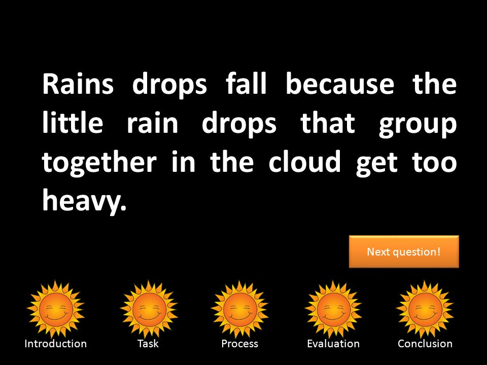 What causes raindrops to fall.IntroductionTaskProcessEvaluationConclusion A) Mother Nature crying.