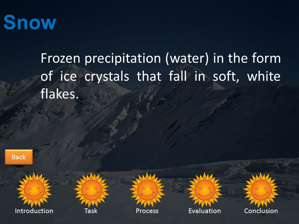 IntroductionTaskProcessEvaluationConclusion Back Sleet Sleet is caused by rain becoming frozen as it falls.