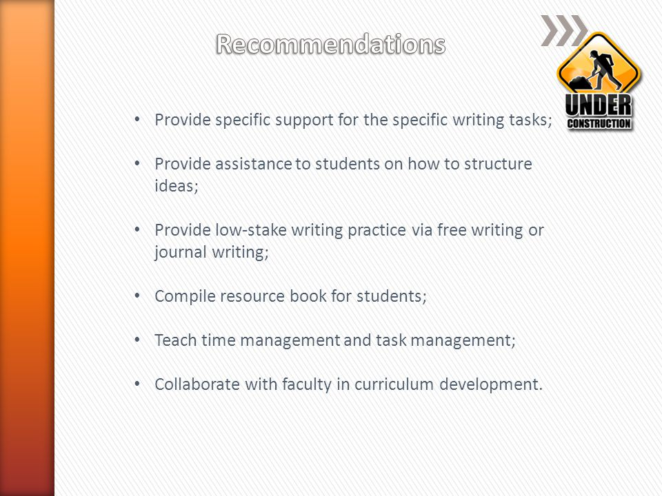 Students value strategies that support the completion of specific writing tasks (how to interview for family information, how to complete maps and family tree, etc.); Students like the strategies that help them organize their thoughts and their paper (how to write the outline and how to structure the essay); Students also like low-stake writing that helps them warm up to the writing (journal writing); Students like the resources handy for them to use ( Monster Booklet ); Students need help with time management and task management.