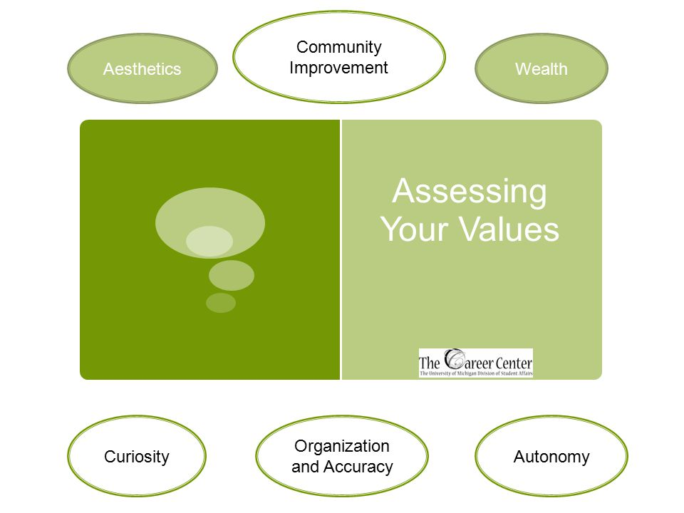 Assessing Your Values Community Improvement Wealth AutonomyCuriosity Organization and Accuracy Aesthetics