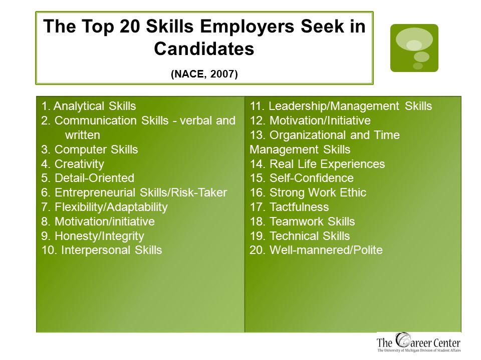 1. Analytical Skills 2. Communication Skills - verbal and written 3.
