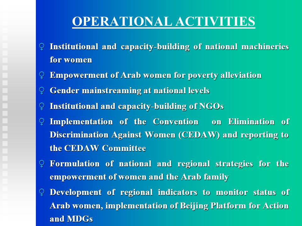 OPERATIONAL ACTIVITIES ♀ Institutional and capacity-building of national machineries for women ♀ Empowerment of Arab women for poverty alleviation ♀ Gender mainstreaming at national levels ♀ Institutional and capacity-building of NGOs ♀ Implementation of the Convention on Elimination of Discrimination Against Women (CEDAW) and reporting to the CEDAW Committee ♀ Formulation of national and regional strategies for the empowerment of women and the Arab family ♀ Development of regional indicators to monitor status of Arab women, implementation of Beijing Platform for Action and MDGs