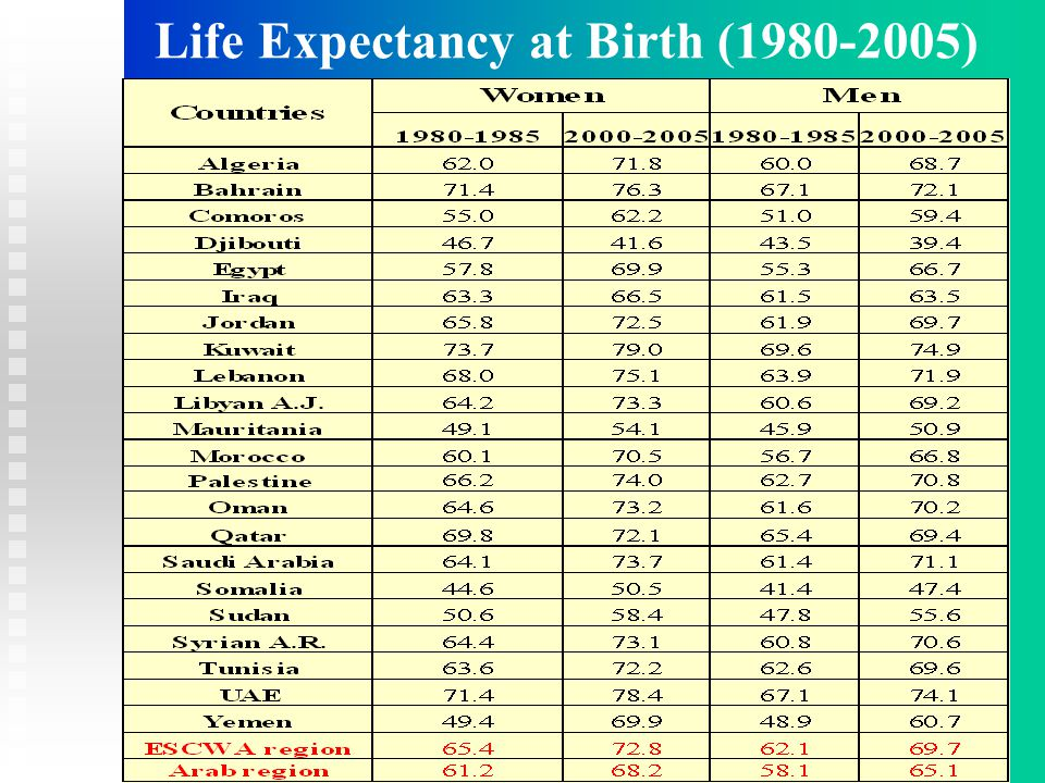 Life Expectancy at Birth (1980-2005)