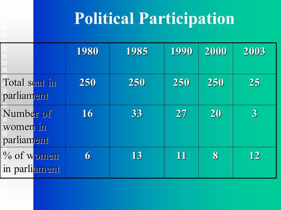 Political Participation19801985199020002003 Total seat in parliament 25025025025025 Number of women in parliament 163327203 % of women in parliament 61311812