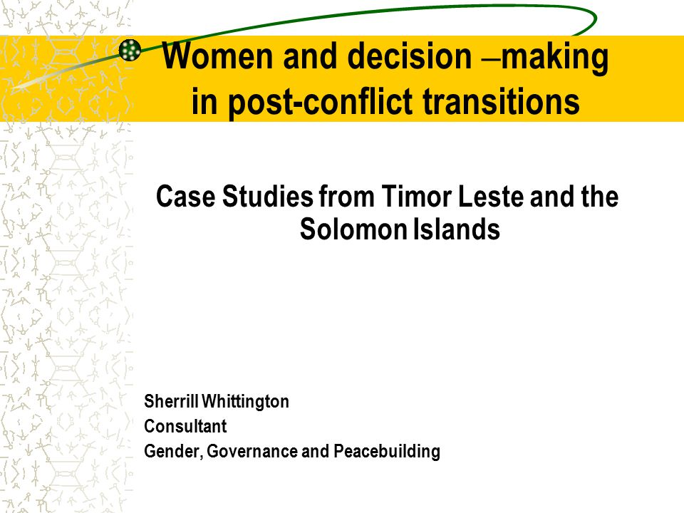 post-conflict transitions Many post-conflict situations provide a unique opportunity to introduce a more inclusive political framework to advance women ' s participation Rwanda, Burundi, Mozambique, South Africa and Timor Leste, have greater female political participation than more highly developed countries such as the United States, France and Italy.