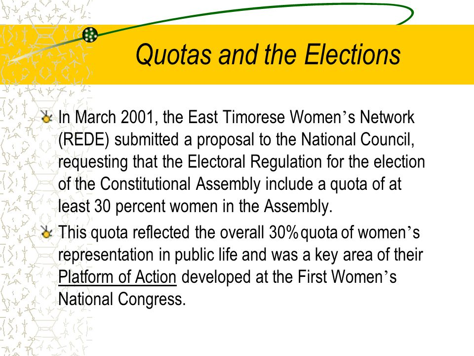 Quotas and the Elections In March 2001, the East Timorese Women ' s Network (REDE) submitted a proposal to the National Council, requesting that the Electoral Regulation for the election of the Constitutional Assembly include a quota of at least 30 percent women in the Assembly.