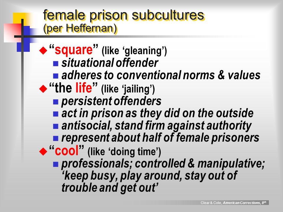 "Clear & Cole, American Corrections, 8 th female prison subcultures (per Heffernan)  ""square"" (like 'gleaning') situational offender adheres to conven"