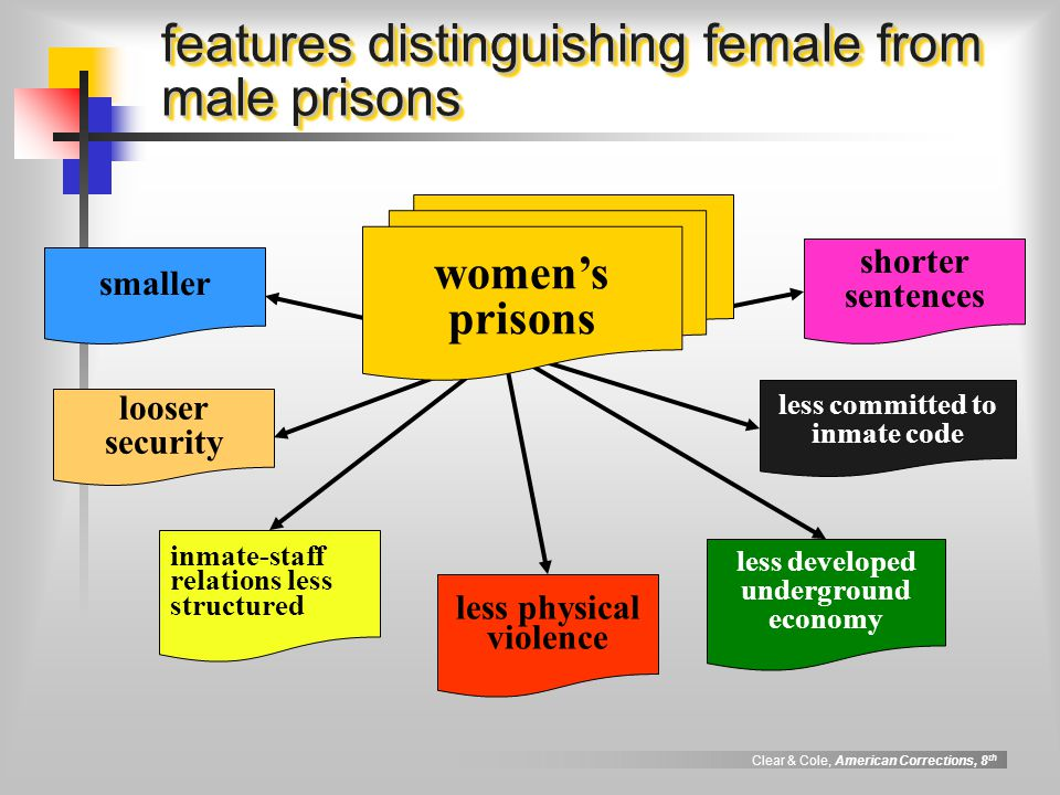 Clear & Cole, American Corrections, 8 th features distinguishing female from male prisons smaller less physical violence inmate-staff relations less s
