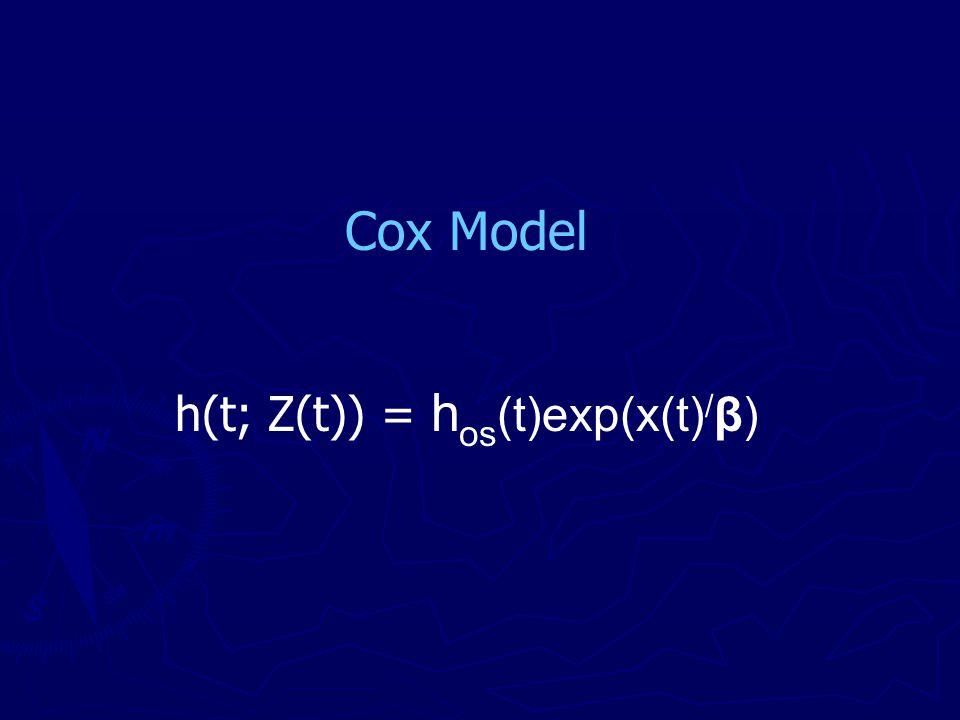 Cox Model h(t; Z(t)) = h os (t)exp(x(t) / β)