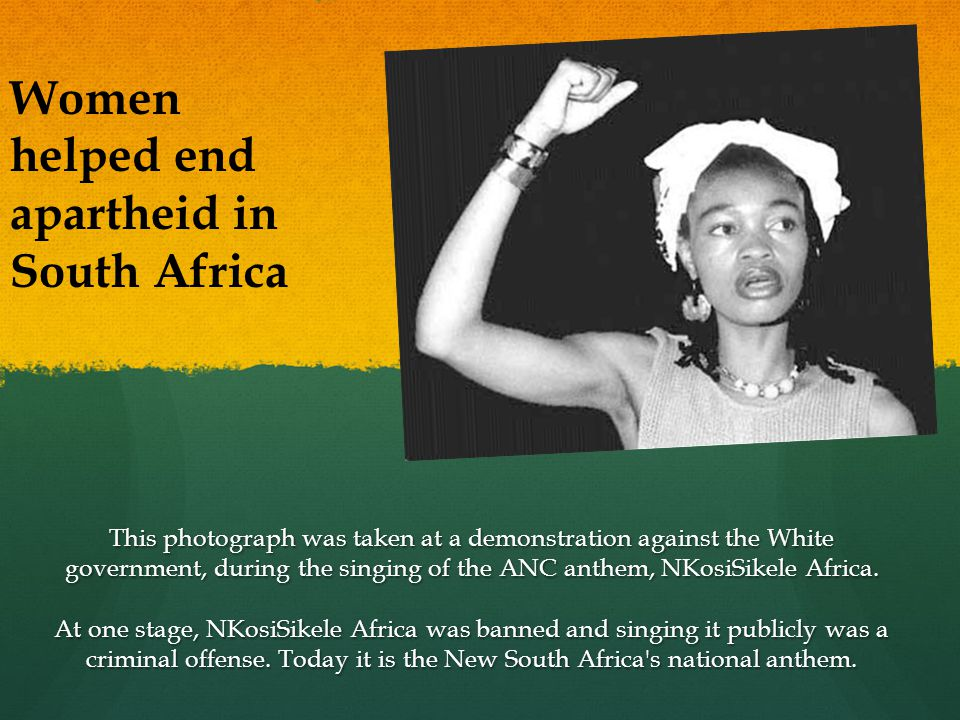 This photograph was taken at a demonstration against the White government, during the singing of the ANC anthem, NKosiSikele Africa.