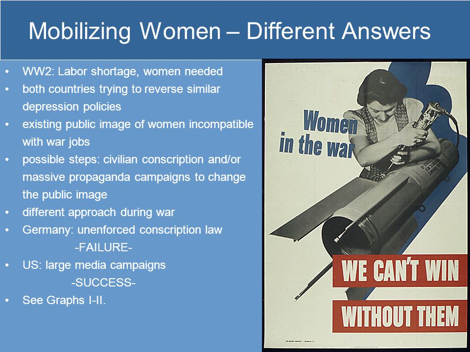 Mobilizing Women – Different Answers WW2: Labor shortage, women needed both countries trying to reverse similar depression policies existing public im