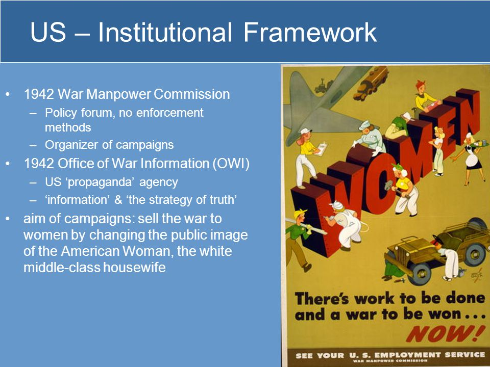 US – Institutional Framework 1942 War Manpower Commission –Policy forum, no enforcement methods –Organizer of campaigns 1942 Office of War Information
