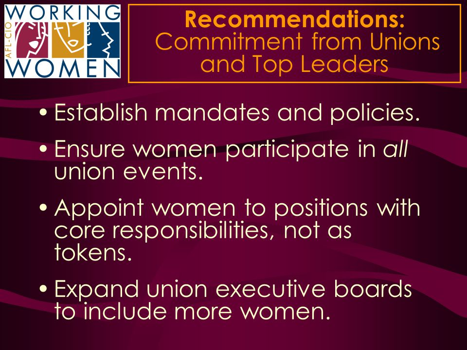Recommendations: Commitment from Unions and Top Leaders Establish mandates and policies. Ensure women participate in all union events. Appoint women t