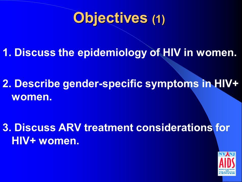 Objectives (2) 4.Identify psychological factors in HIV+ women.