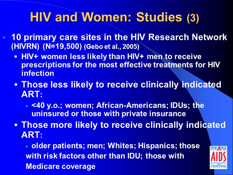 HIV and Women: Studies (3)  10 primary care sites in the HIV Research Network (HIVRN) (N=19,500) (Gebo et al., 2005)  HIV+ women less likely than HIV+ men to receive prescriptions for the most effective treatments for HIV infection  Those less likely to receive clinically indicated ART :  <40 y.o.; women; African-Americans; IDUs; the uninsured or those with private insurance  Those more likely to receive clinically indicated ART :  older patients; men; Whites; Hispanics; those with risk factors other than IDU; those with Medicare coverage
