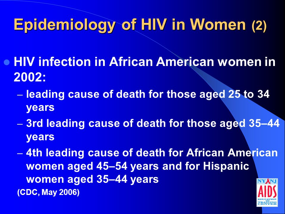Epidemiology of HIV in Women (2) HIV infection in African American women in 2002: – leading cause of death for those aged 25 to 34 years – 3rd leading cause of death for those aged 35–44 years – 4th leading cause of death for African American women aged 45–54 years and for Hispanic women aged 35–44 years (CDC, May 2006)