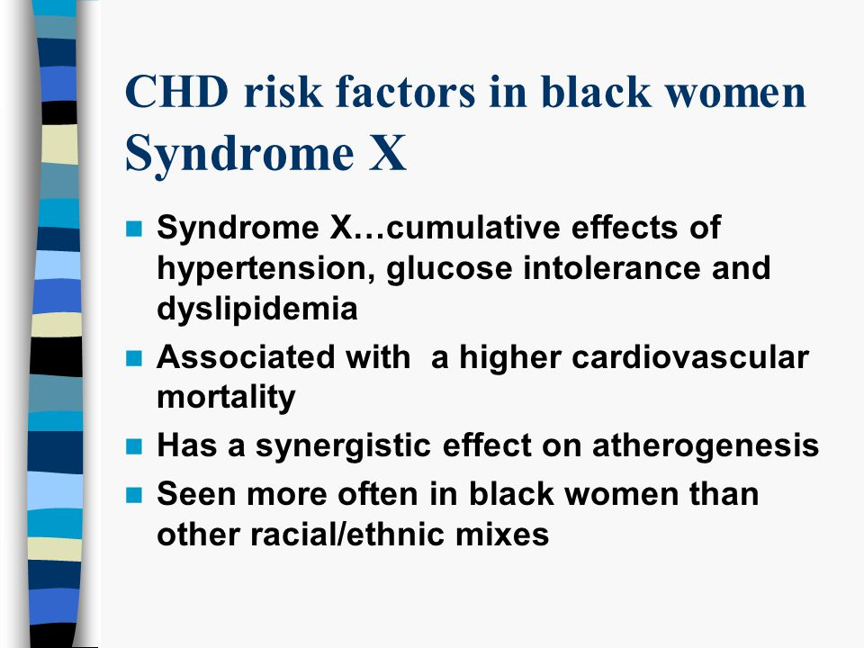 CHD risk factors in black women Syndrome X Syndrome X…cumulative effects of hypertension, glucose intolerance and dyslipidemia Associated with a higher cardiovascular mortality Has a synergistic effect on atherogenesis Seen more often in black women than other racial/ethnic mixes