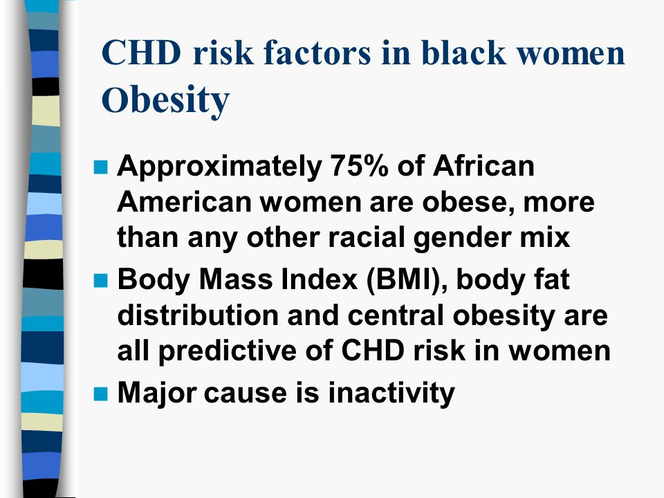 CHD risk factors in black women O besity Approximately 75% of African American women are obese, more than any other racial gender mix Body Mass Index (BMI), body fat distribution and central obesity are all predictive of CHD risk in women Major cause is inactivity